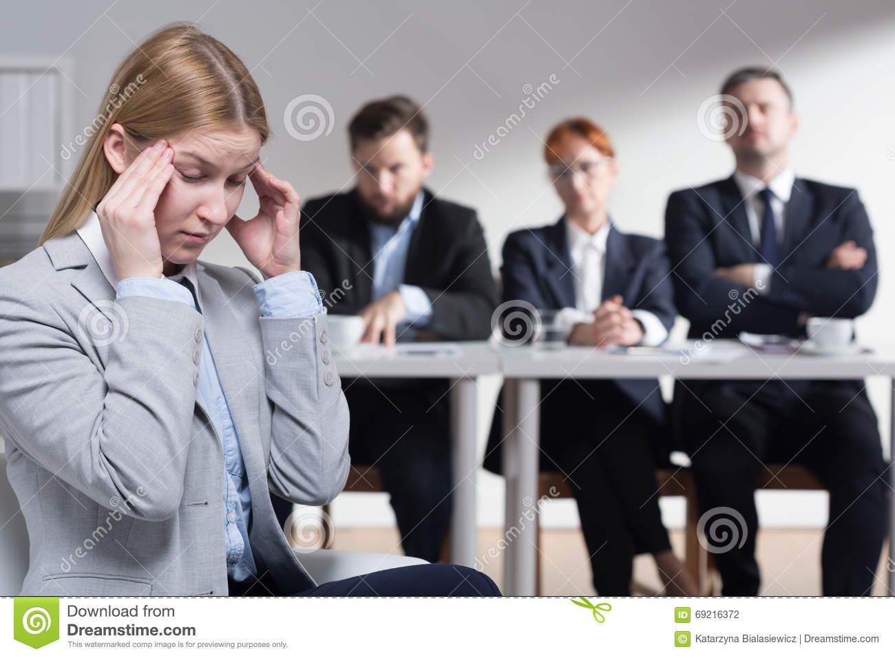 Stress Before Job Interview Stock Photo Image 69216372
