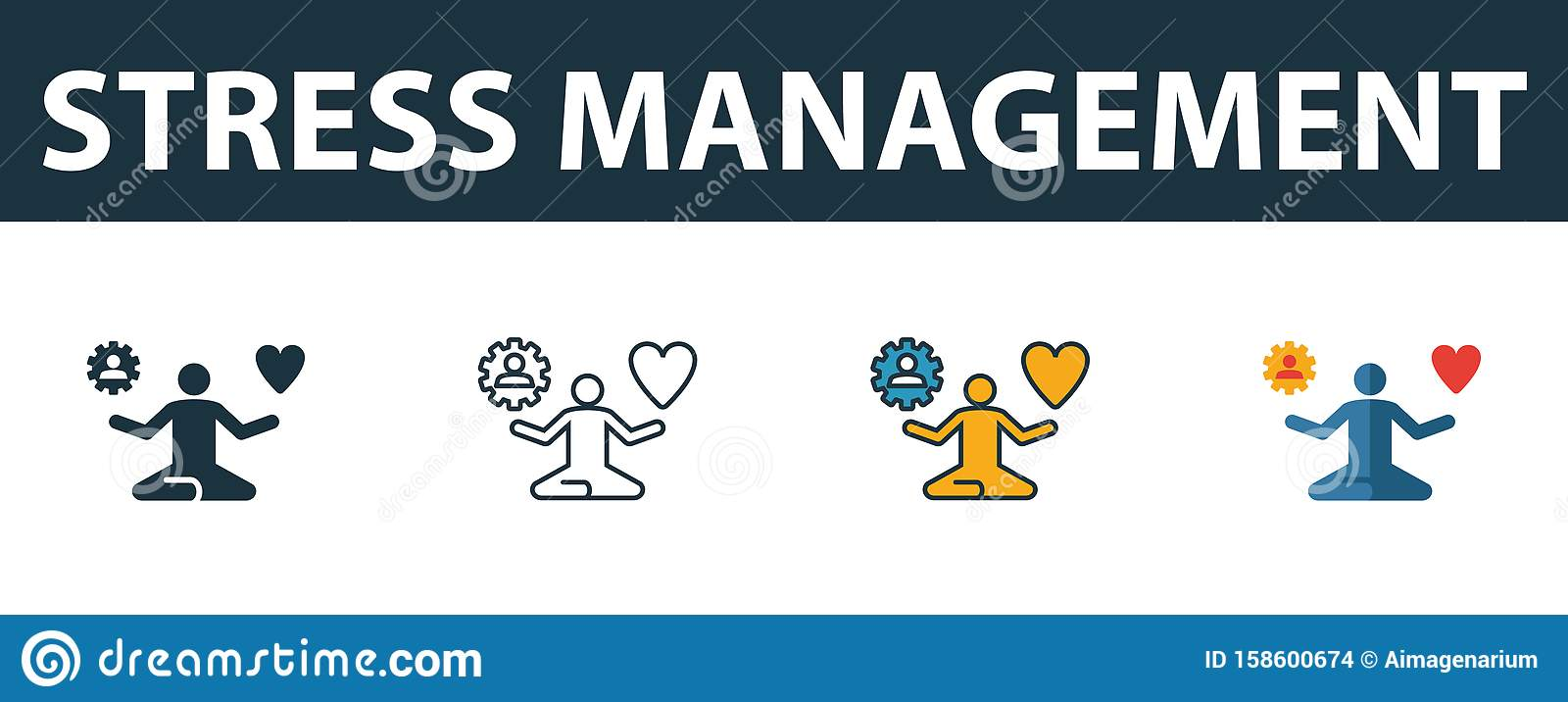 Stress Management Icon Set. Four Simple Symbols In ...