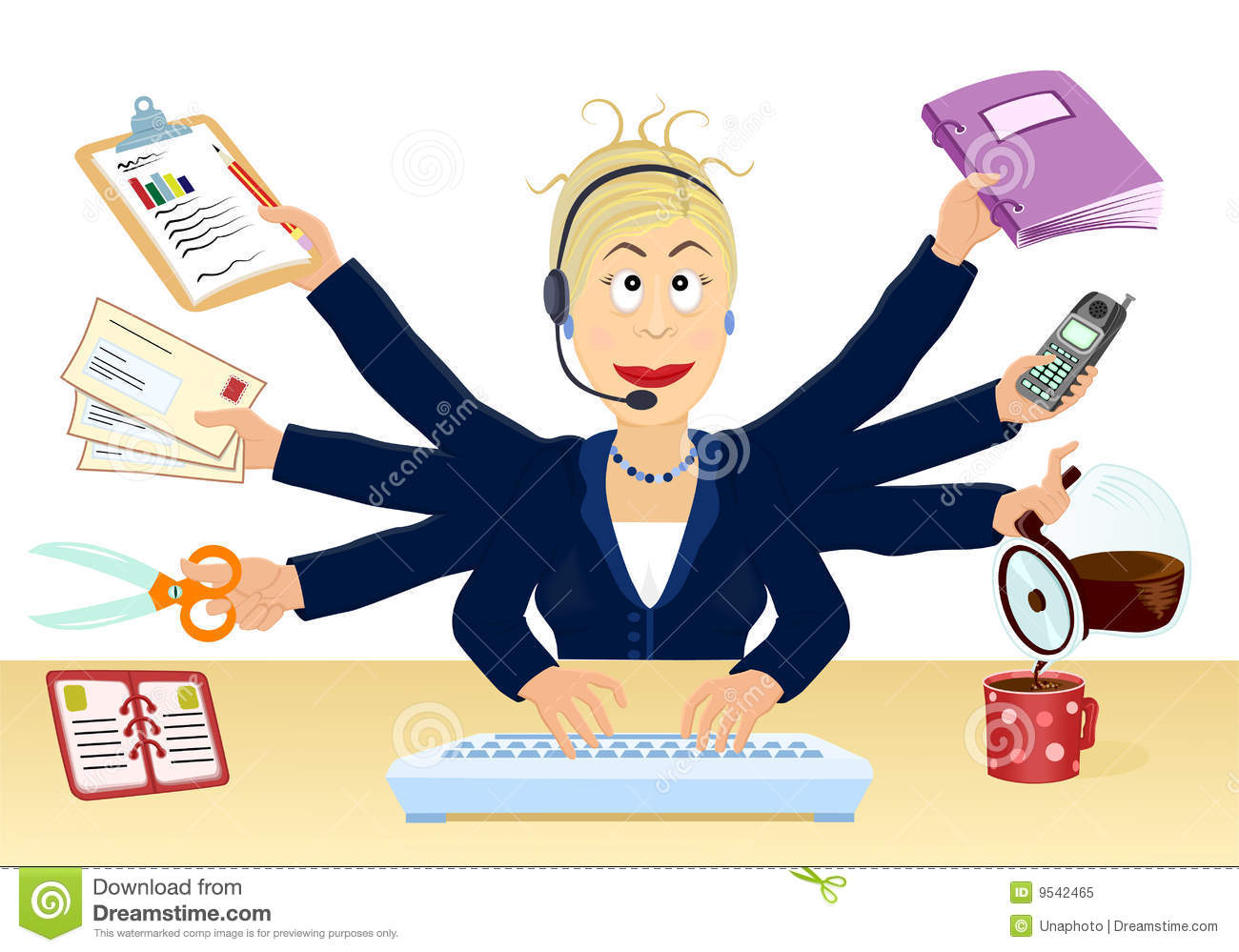Stress And Multitasking At The Office Stock Vector Illustration Of