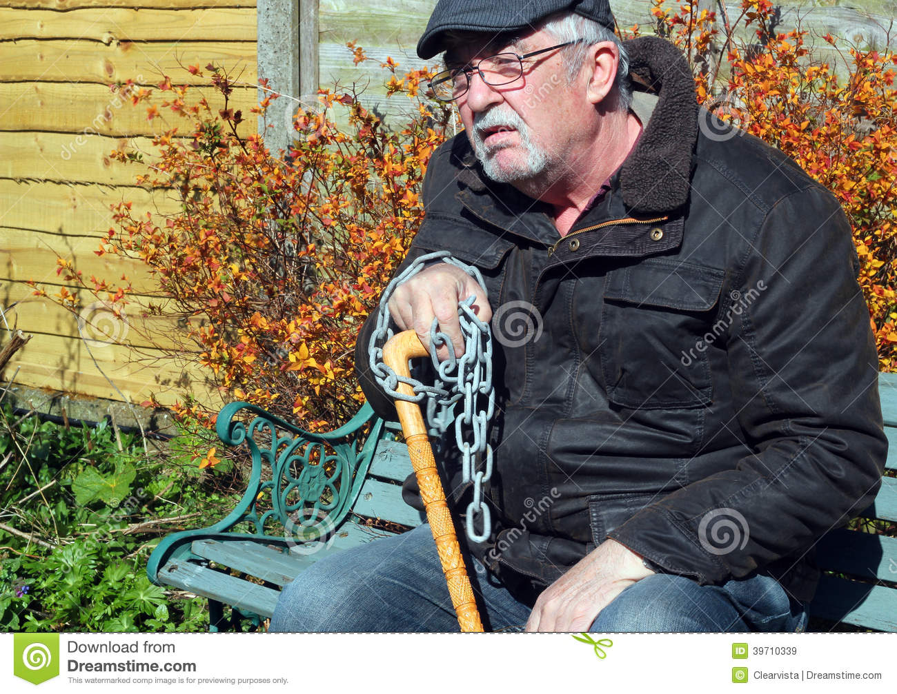 chained man sad old age and infirmity stock image image of ageing infirm 39710339. Black Bedroom Furniture Sets. Home Design Ideas