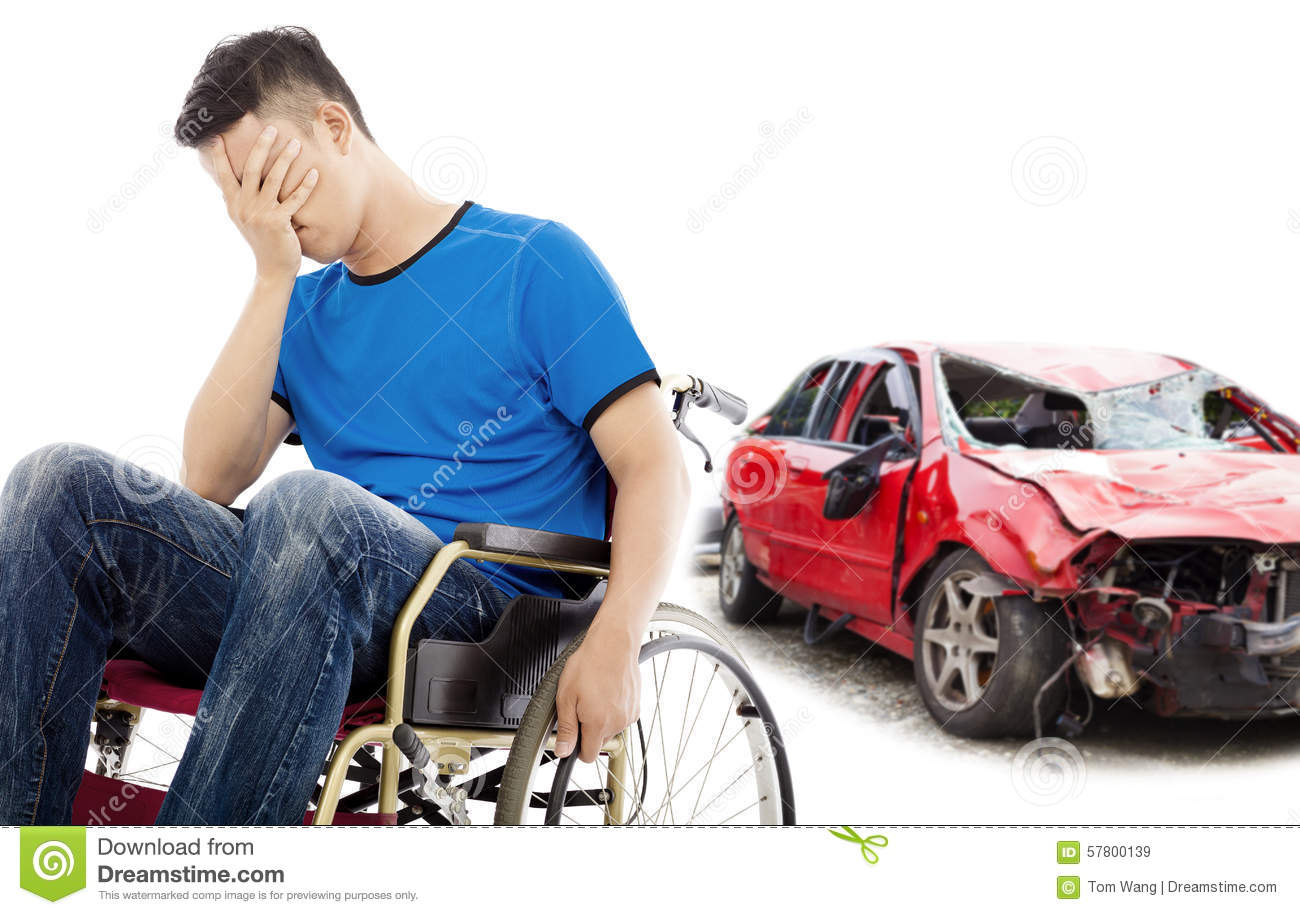 Stress patient with car accident concept
