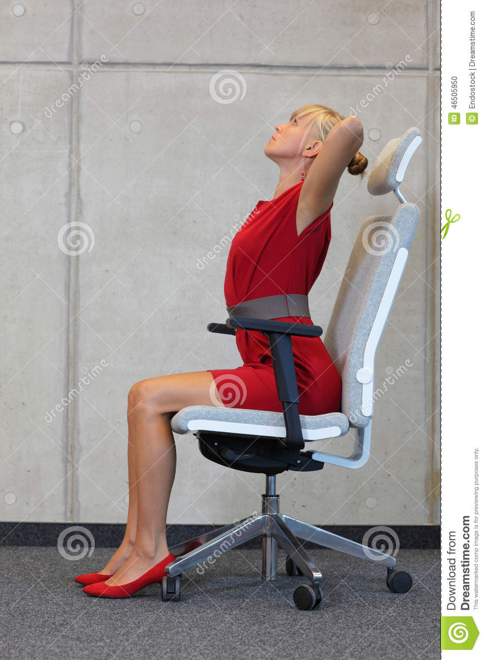 Stress Reduction In Office Work Woman Exercising On