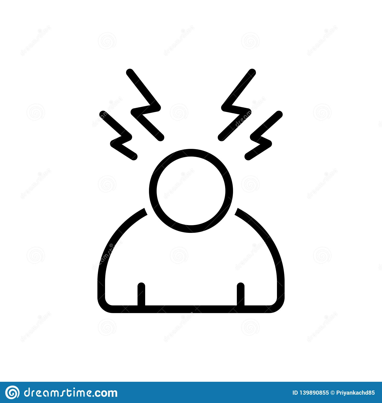 Black line icon for Stress, worried and pressure