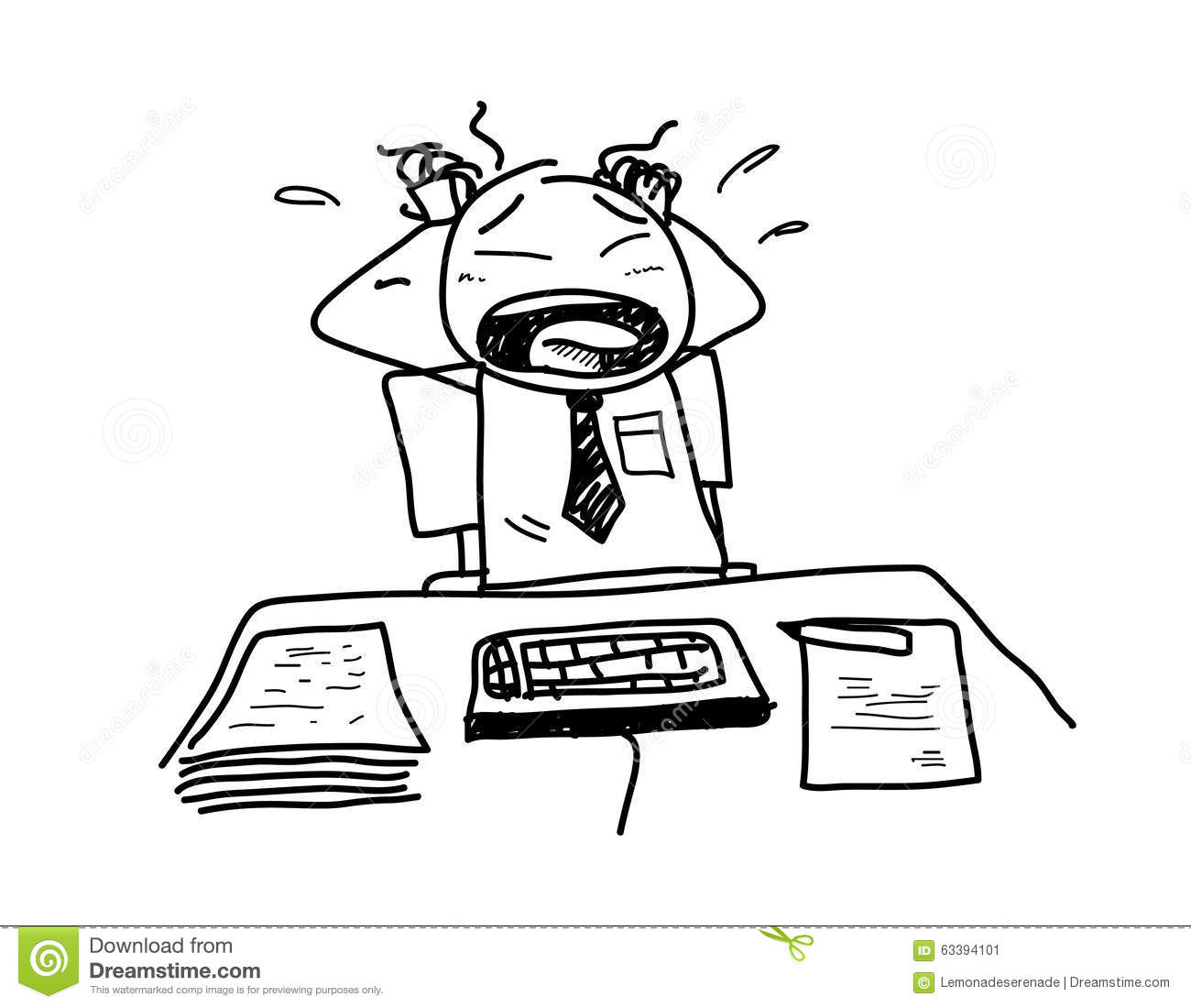 Stress At Work stock vector. Illustration of frustrated ...
