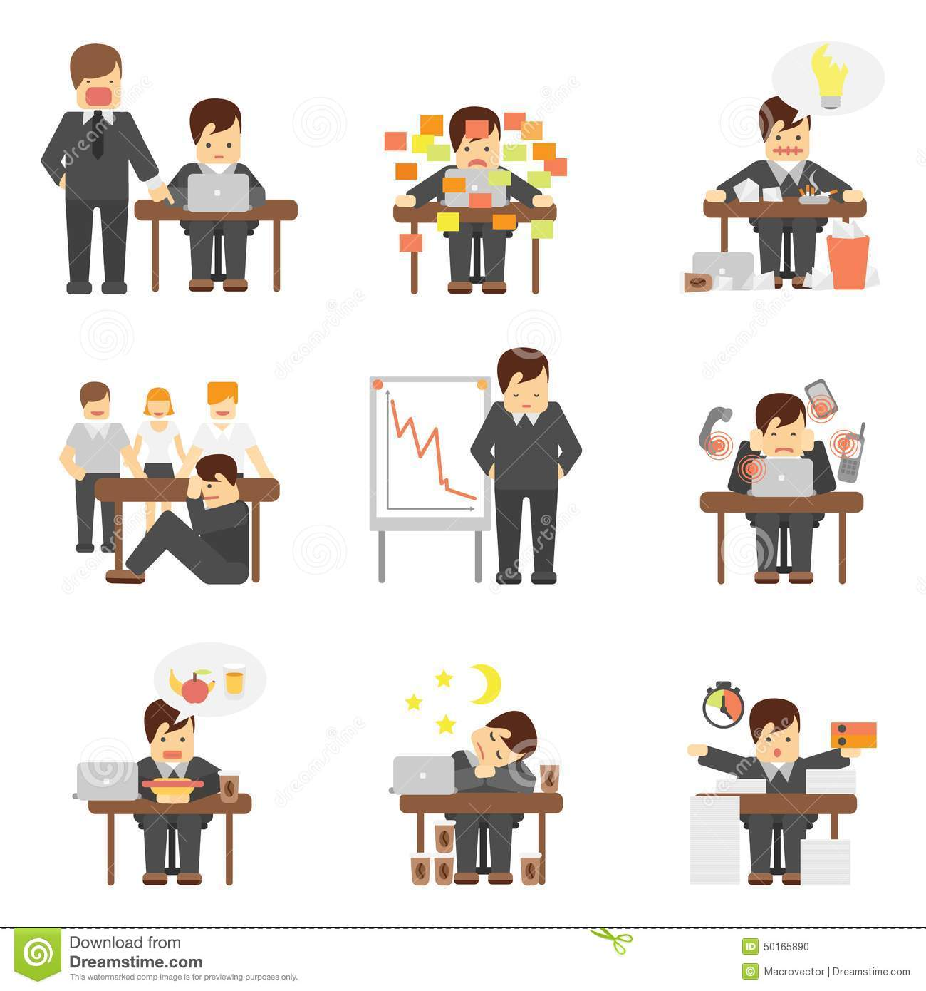 Stress At Work Icons Set Stock Vector Image 50165890
