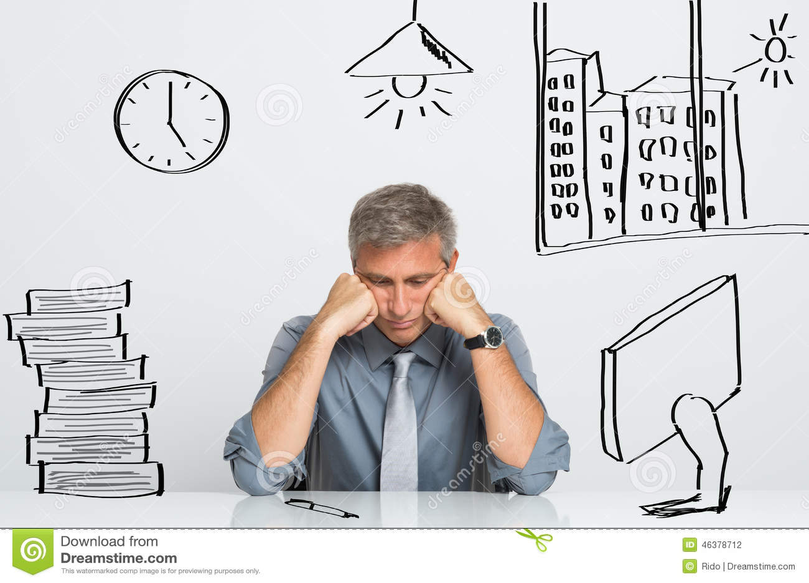Stressad affärsman på arbete