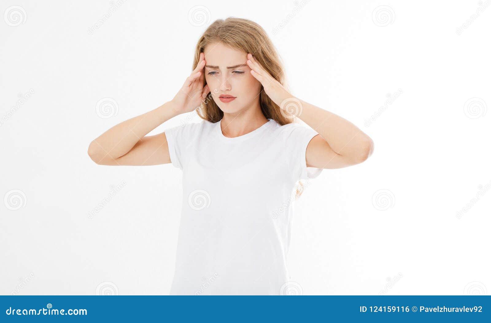 Stressad utmattad caucasian kvinna som har stark spänning Headach