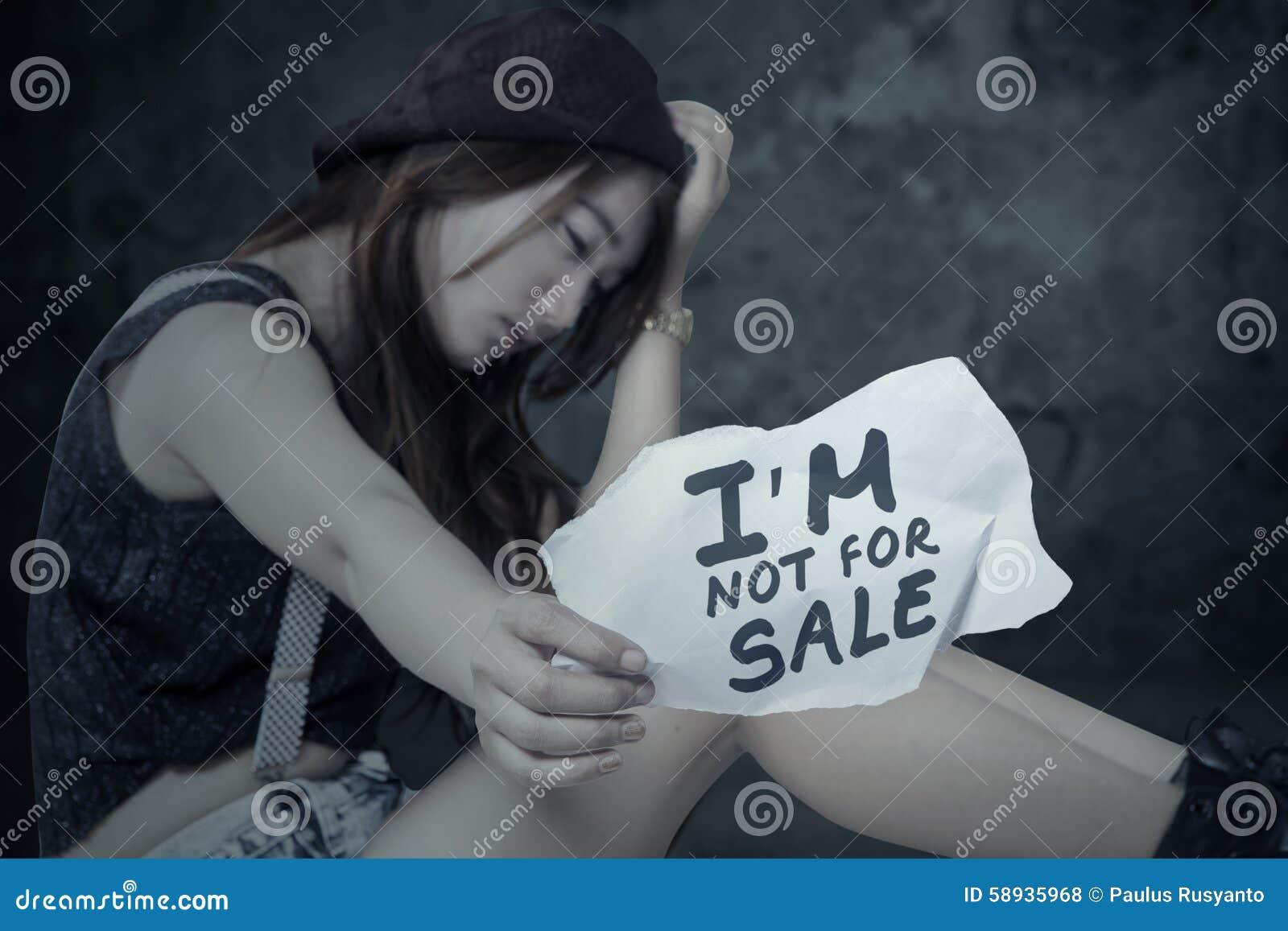 Stressat flickaoffer av den mänskliga människohandeln