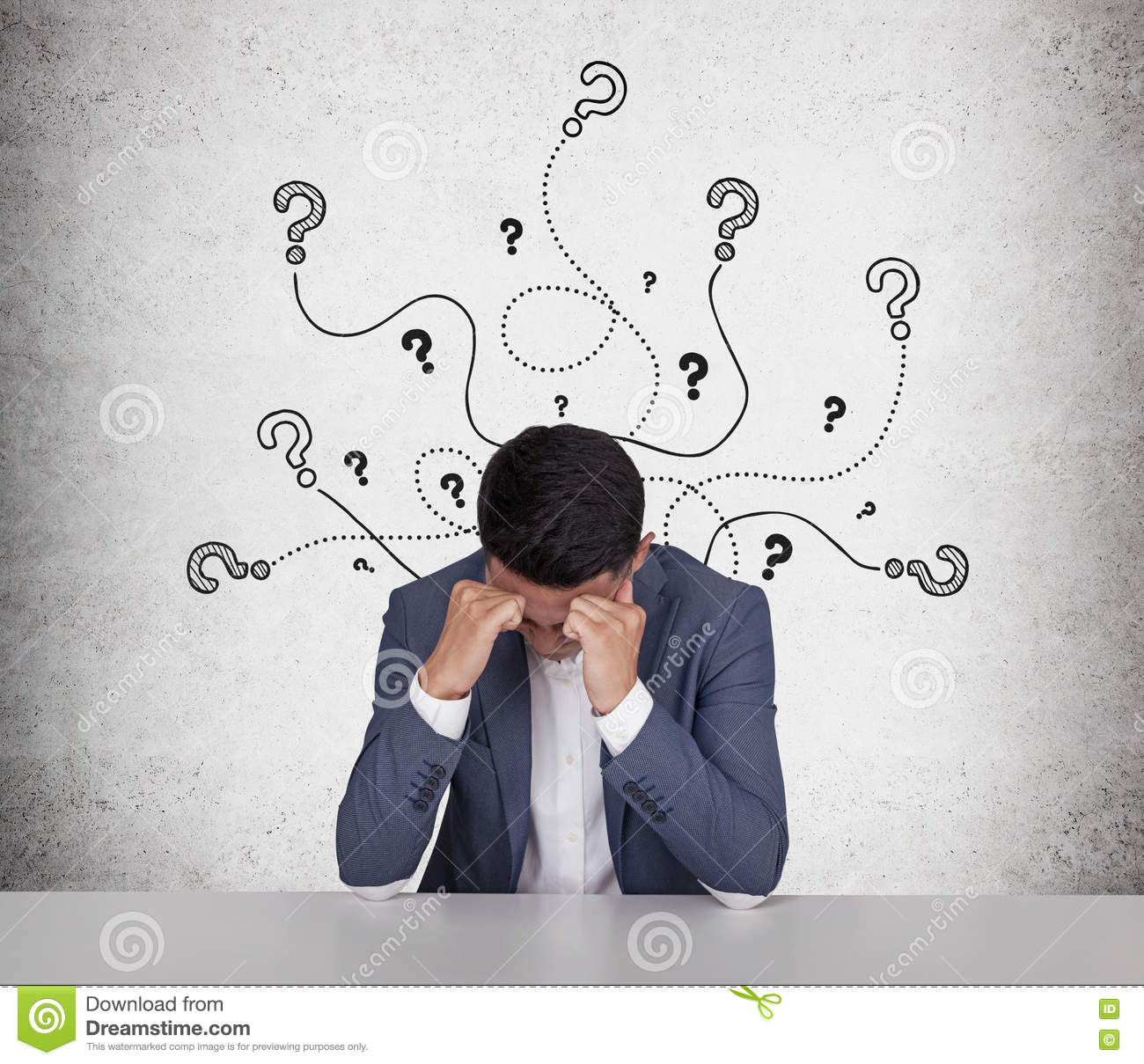 Stressed Asian businessman with lots of questions