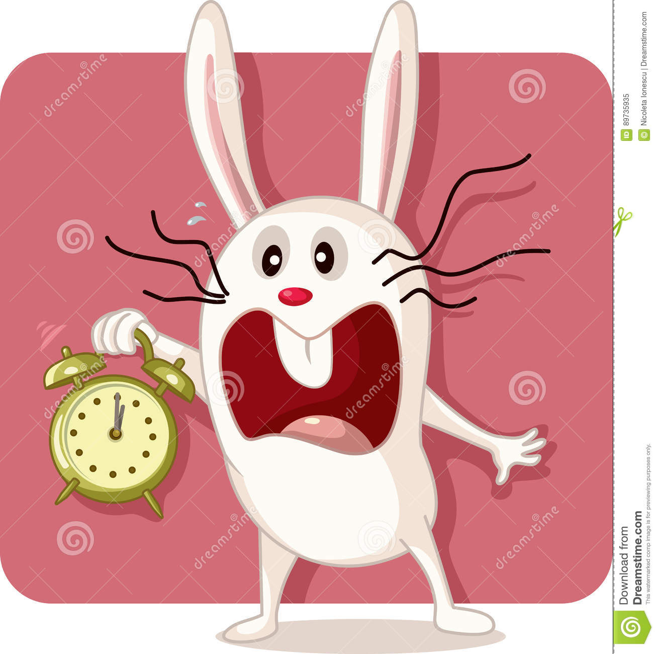 Stressed Bunny With Alarm Clock Vector Stock Vector Illustration