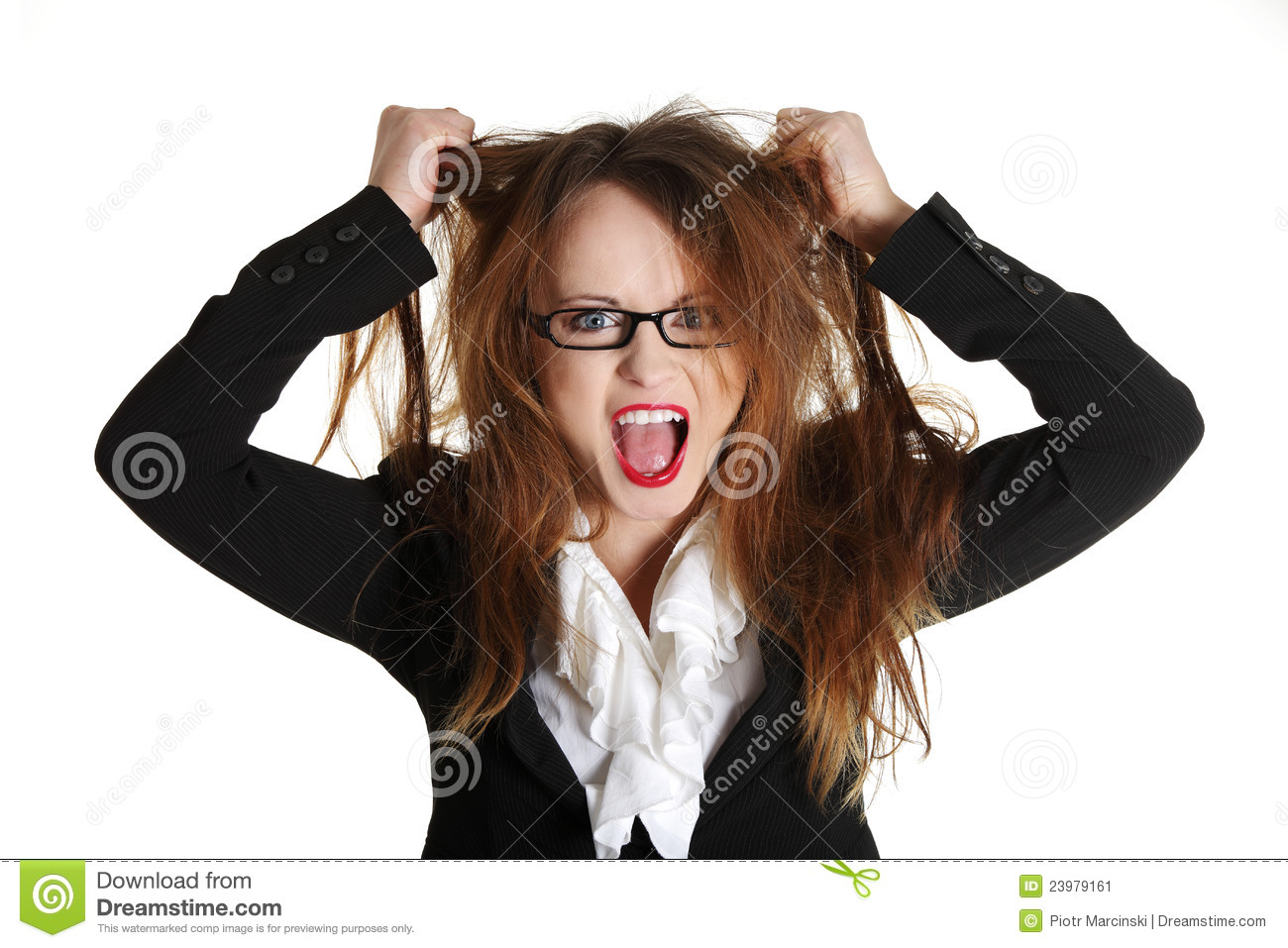Stressed Business Woman Is Going Crazy Stock Image - Image