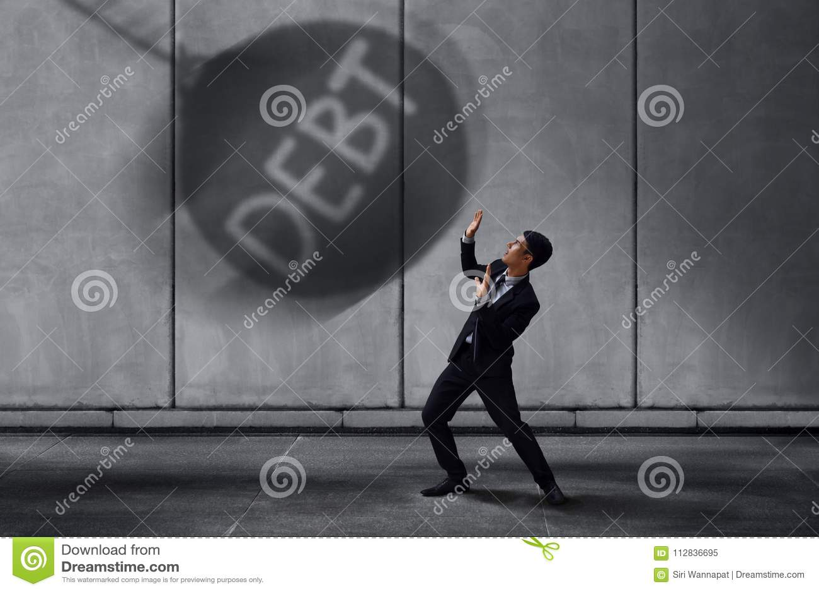 Stressed Businessman in Under Pressured Concept, Small Worker Sc