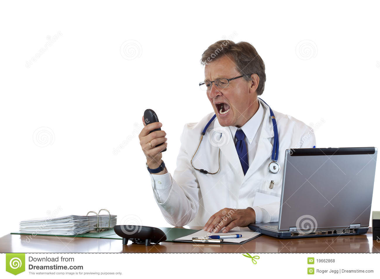 Stressed Doctor In Office Screams Into Telephone Royalty Free ...