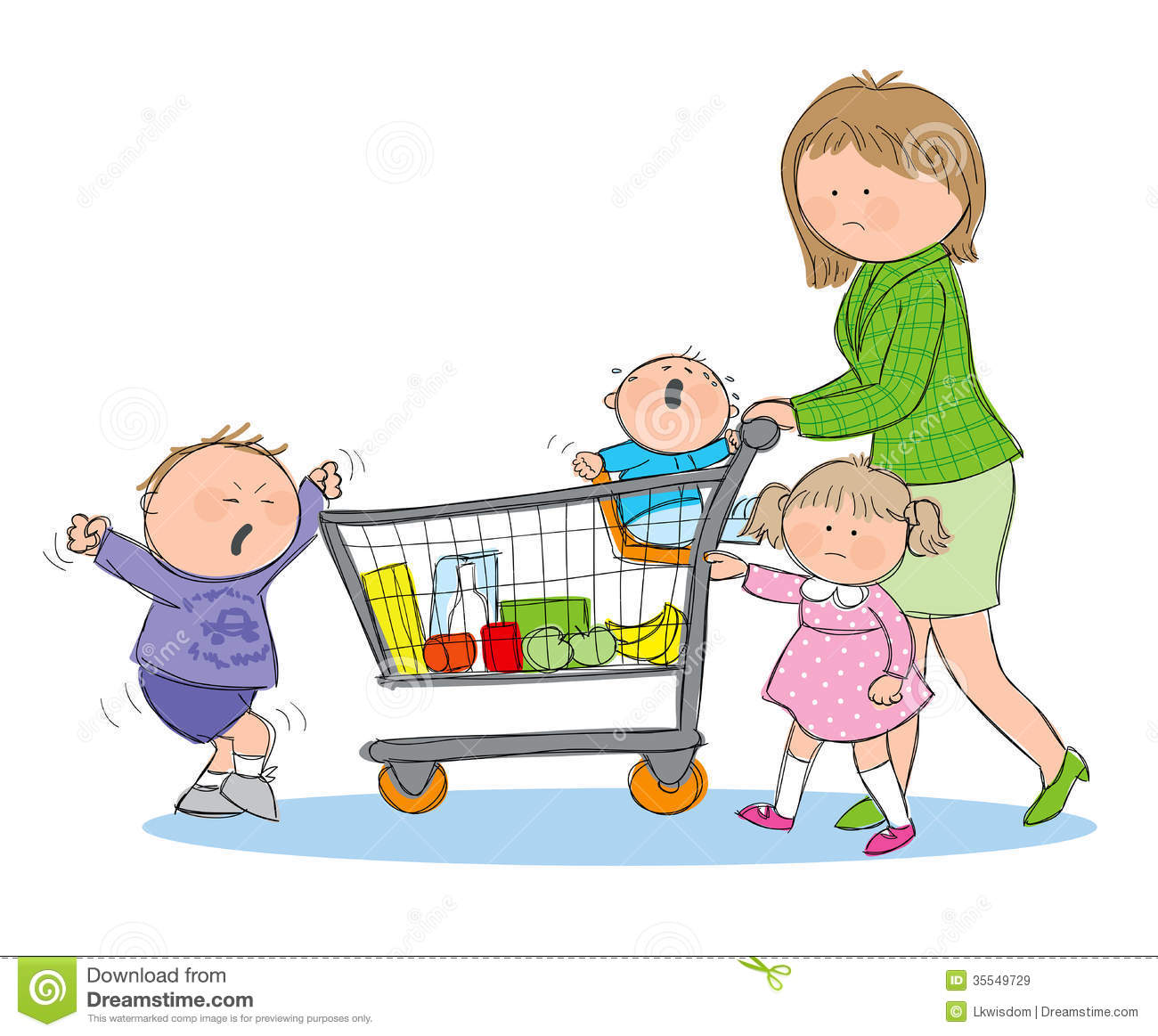 Stressed Mom Grocery Shopping Stock Vector - Illustration ...