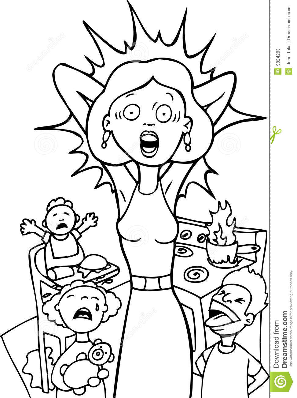 Stressed Mom At Home - Black And White Stock Vector ...