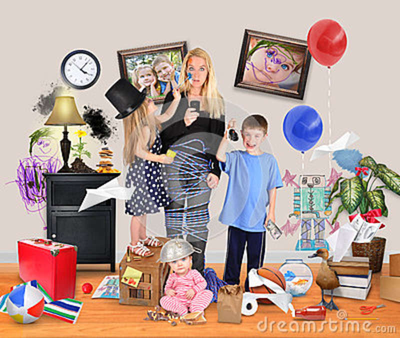 Stressed Mother With Wild Children In Messy House Stock