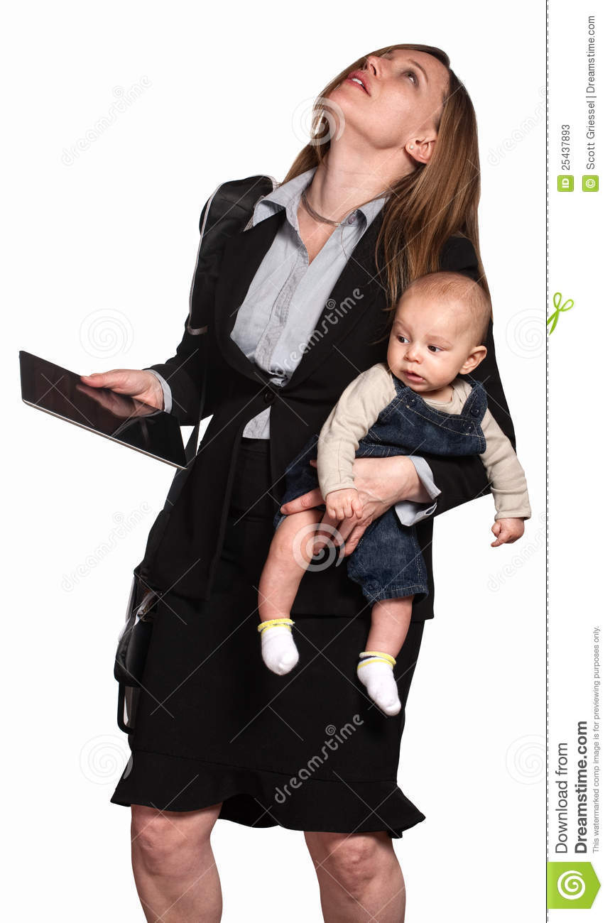 Stressed out professional women with baby over white background.