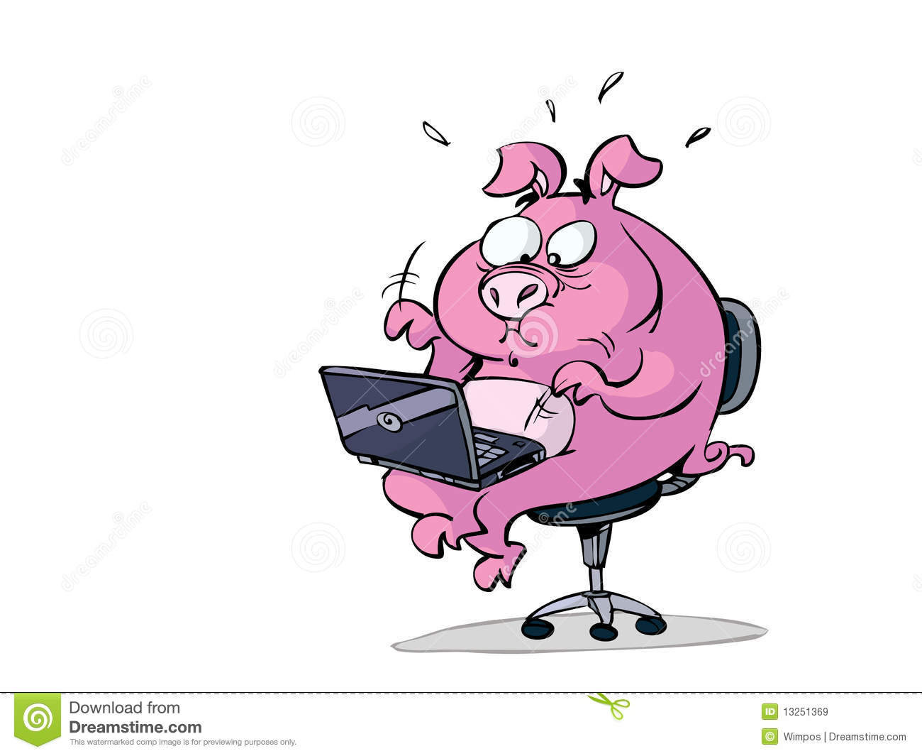 Stressed Pig With Laptop Stock Illustration Illustration