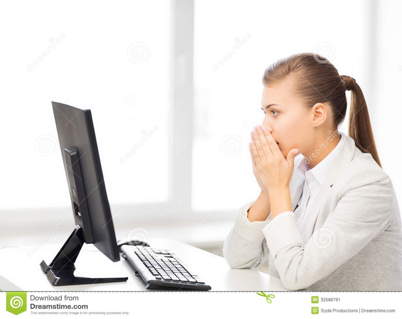 Stressed Student With Computer In Office Stock Image - Image: 32588791