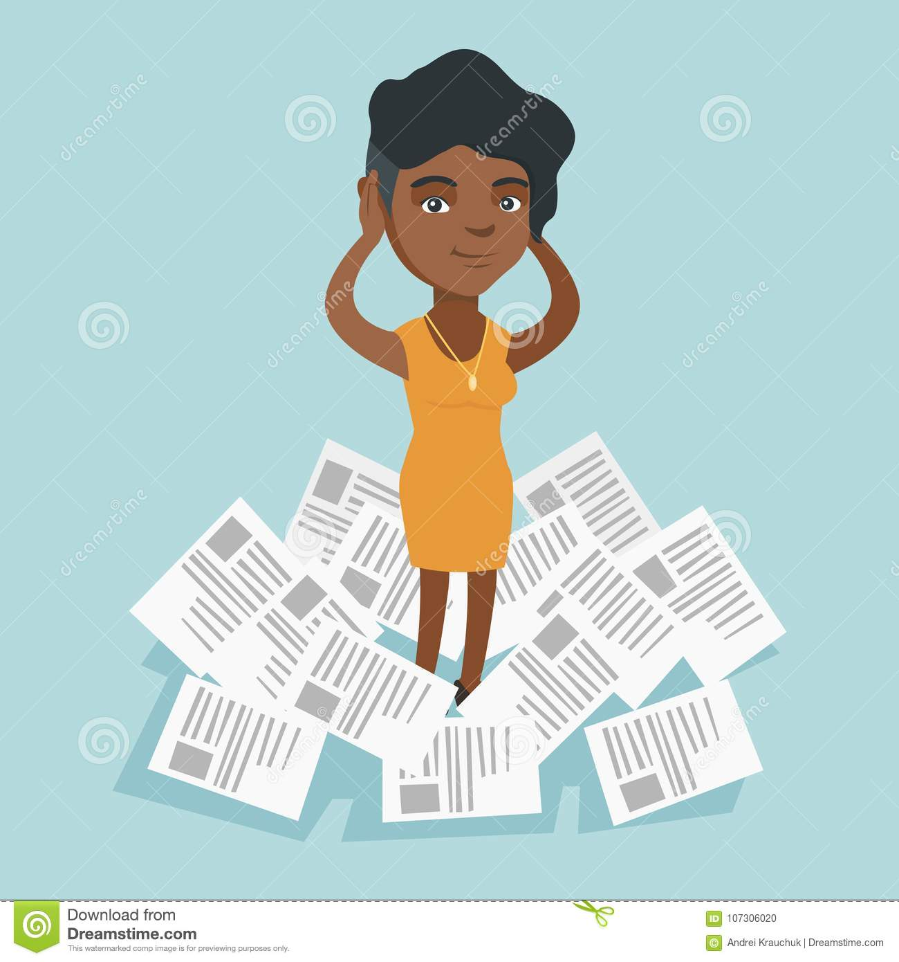 Stressed woman standing in the heap of papers.