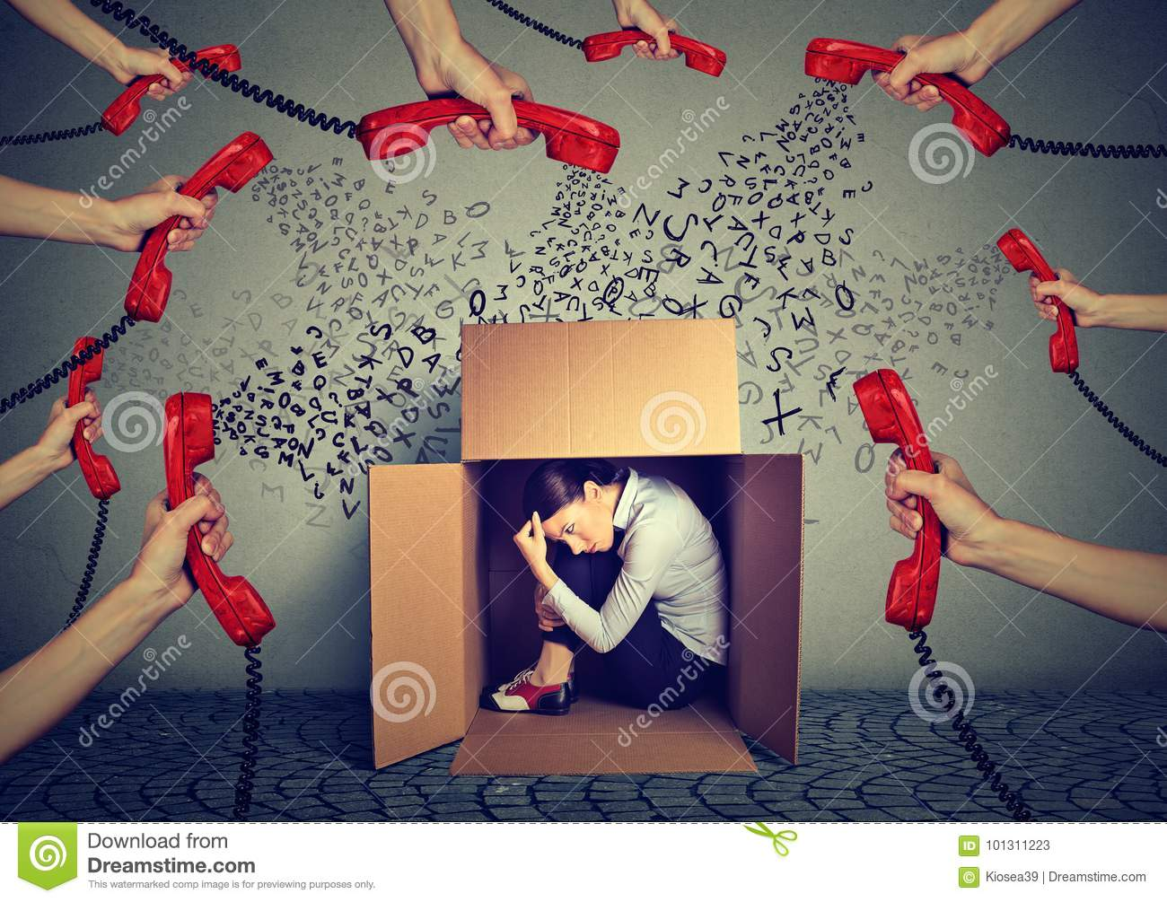 Stressed business woman hiding in a box overwhelmed by many telephone calls and errands should. Busy day of an employee