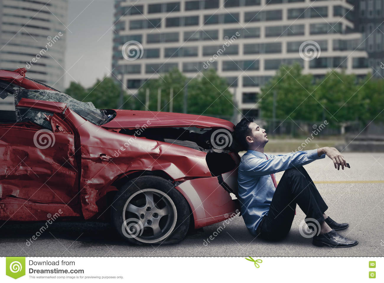 Stressful man after car accident