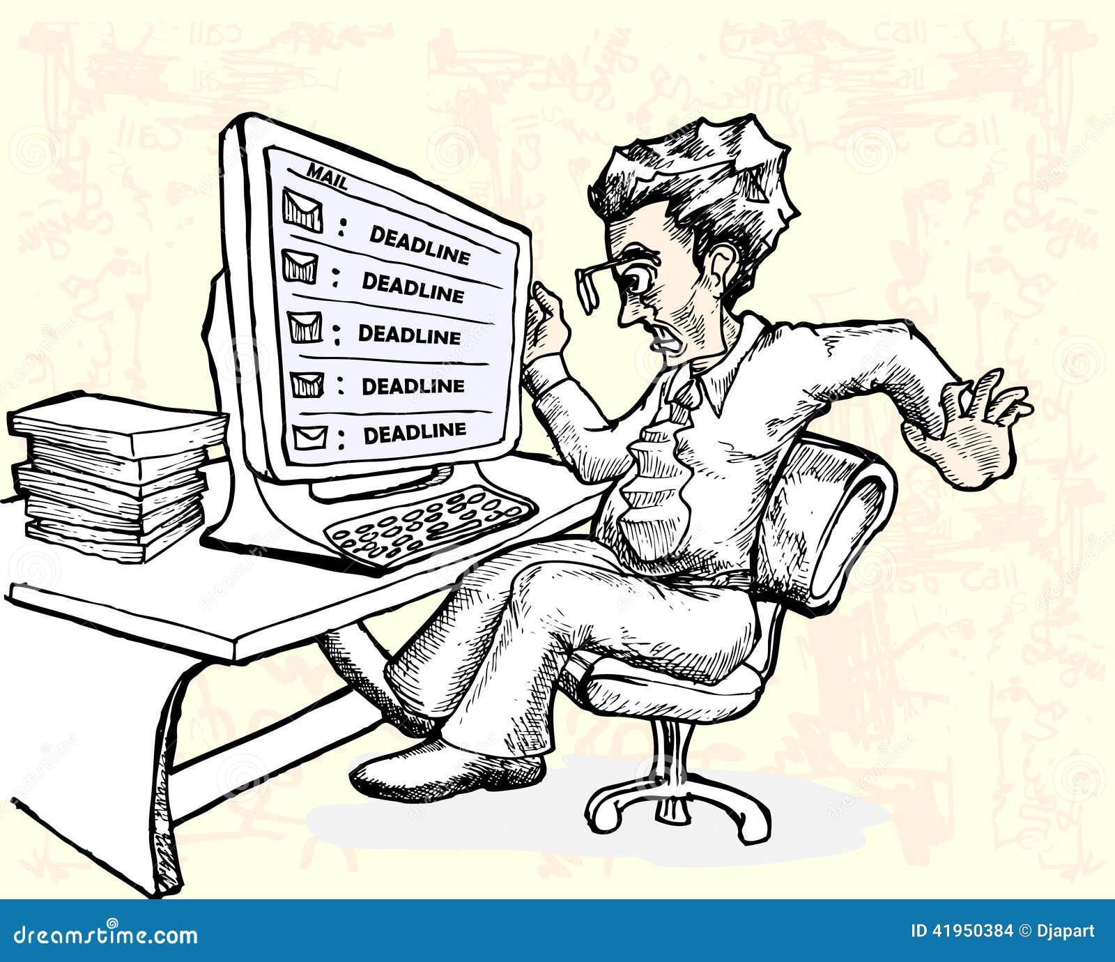 Stresu pracownik ostatecznego terminu emailem