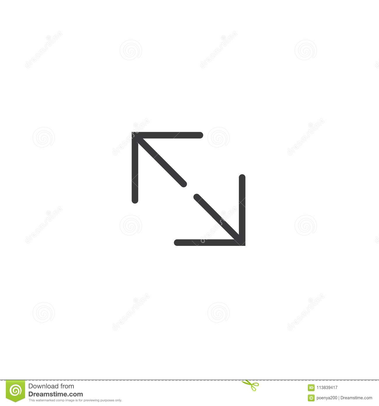 Stretch Full Screen Icon  Isolated Perfect Pixel Arrow