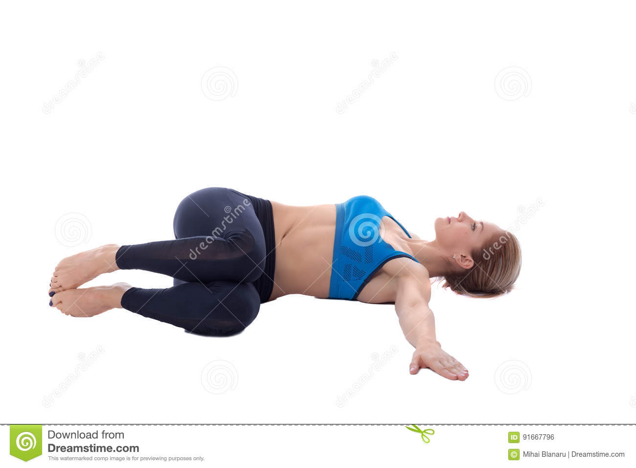 Stretching Of Oblique Muscle Stock Photo Image Of White Body