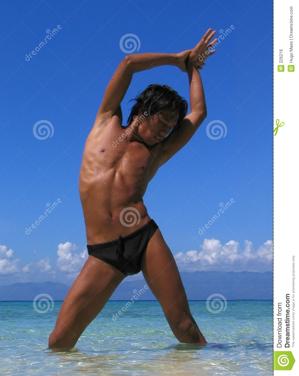 Download Stretching in the sun. stock photo. Image of hair, eyes - 226216