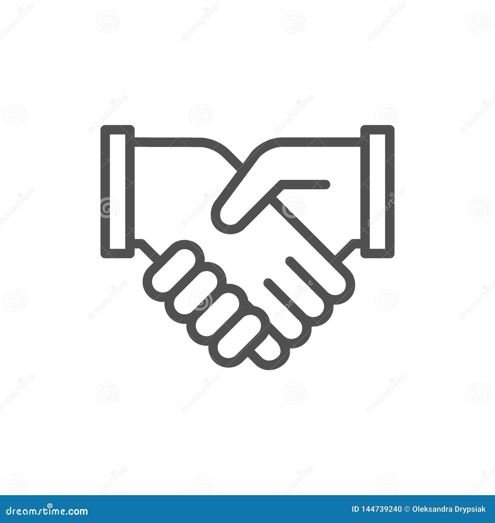 Stretta di mano di affari, accordo di contratto, linea icona di associazione