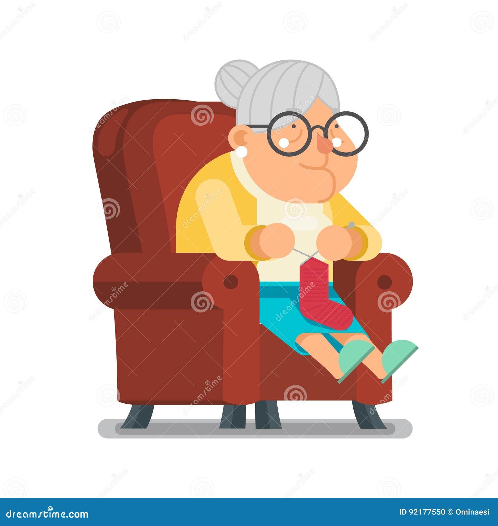 Stricken Sie Wollsocke für Enkelkind-Sit Rest Granny Old Lady-Charakter-Karikatur-flache Design-Vektorillustration
