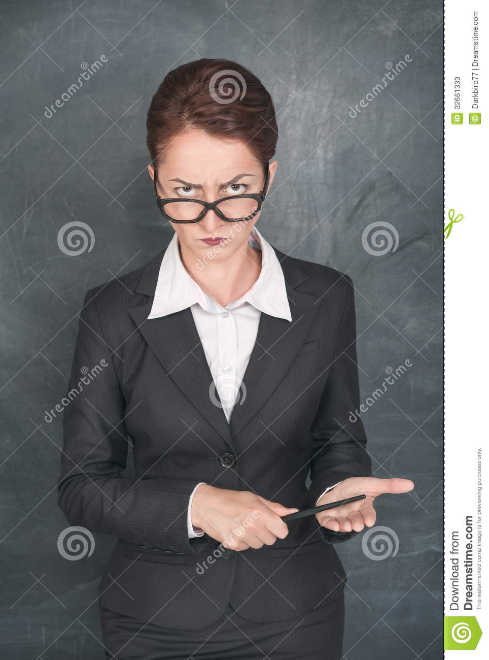 strict teacher with pointer stock image image of funny