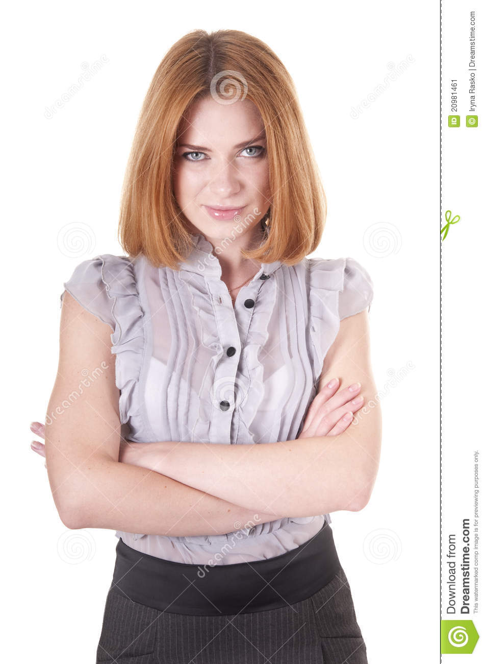 Strict Young Woman In Blouse And Skirt Stock Image Image