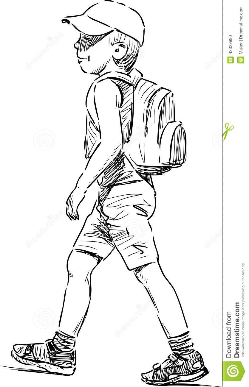 Striding Little Boy Stock Vector Image 43329990