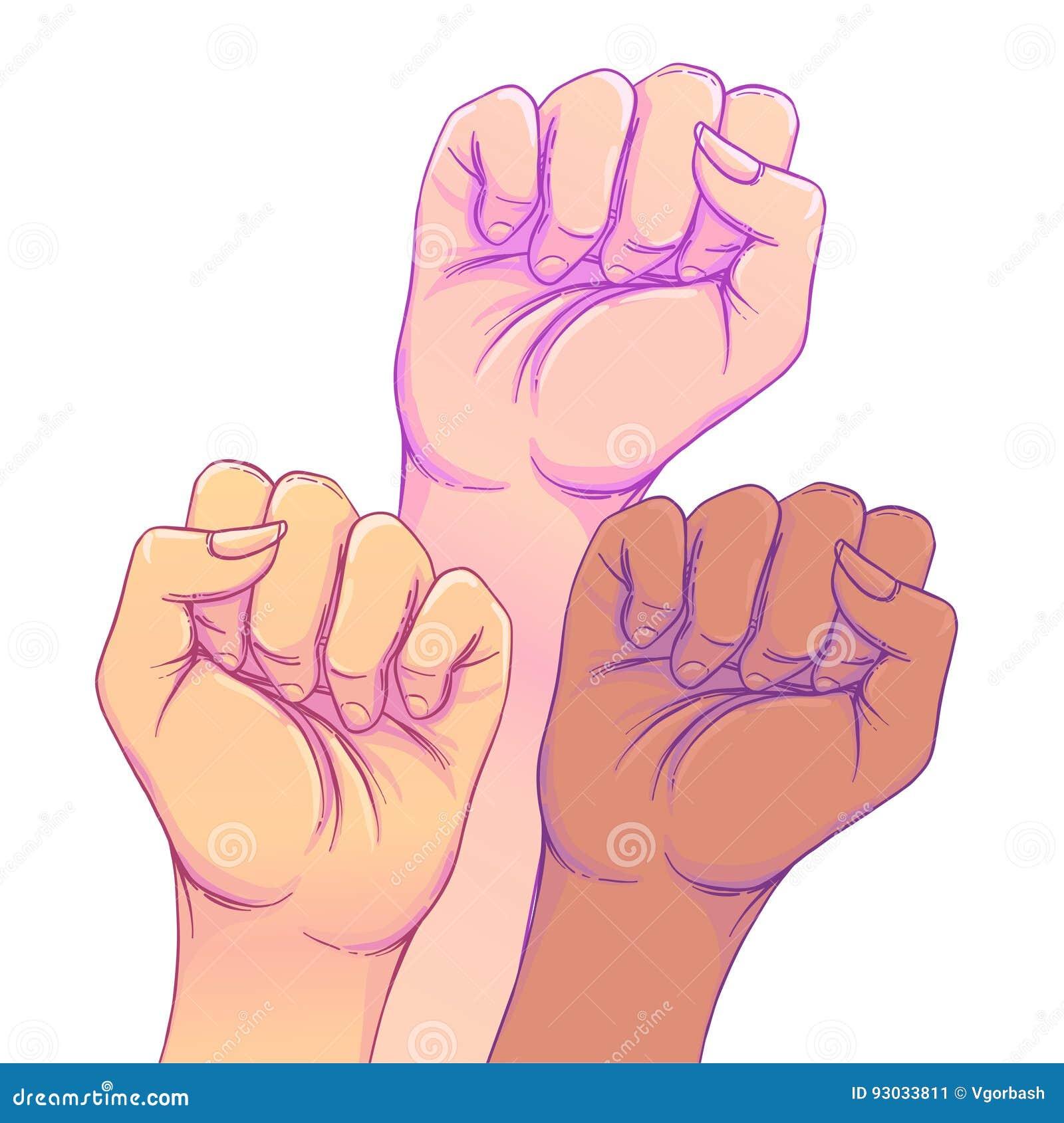 Strijd zoals een meisje 3 de handen van de vrouw met haar omhoog opgeheven vuist Meisje