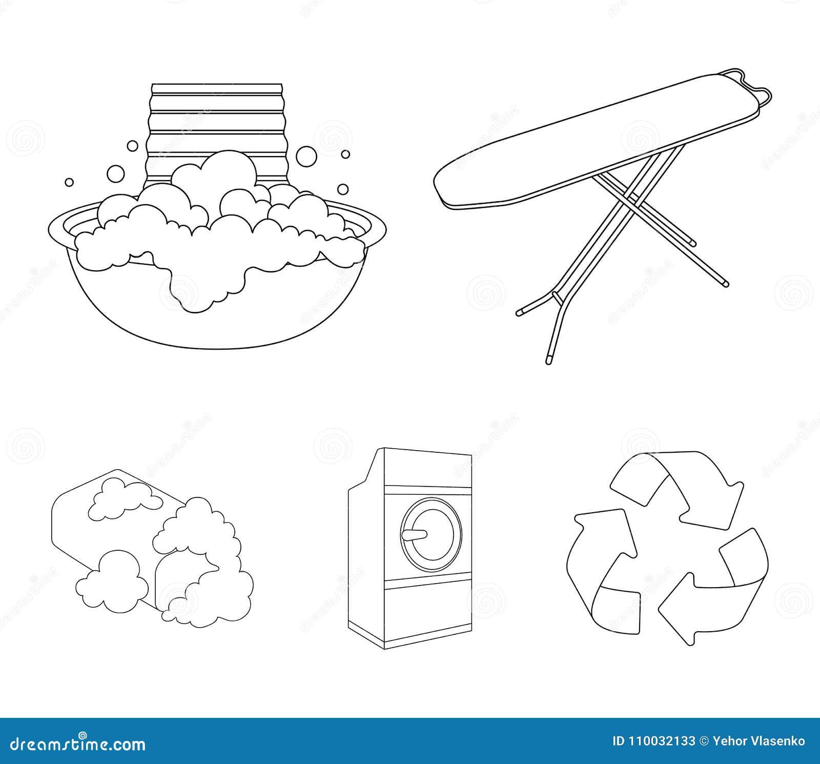 Strijkplank en andere toebehoren Pictogrammen van de chemisch reinigen de vastgestelde inzameling in illustratie van de het symbo