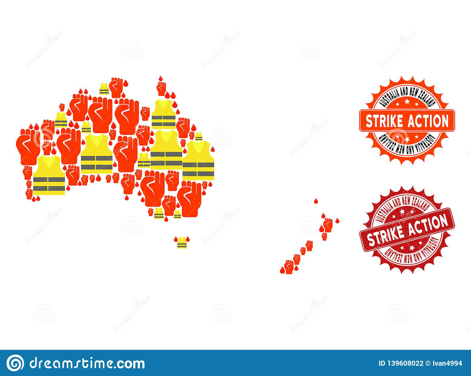 Map Of Australia New Zealand.Collage Of Gilet Jaunes Protest Map Of Australia And New Zealand And