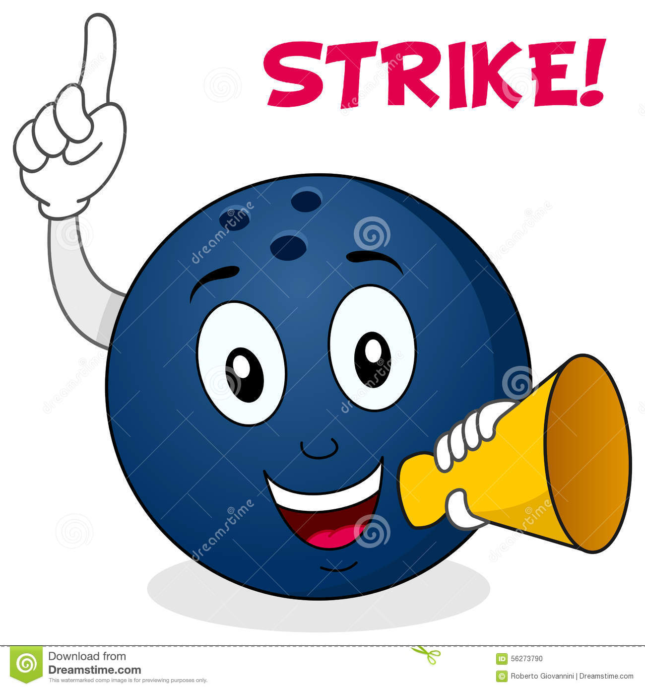 happy cartoon bowling ball character smiling and holding a megaphone ...