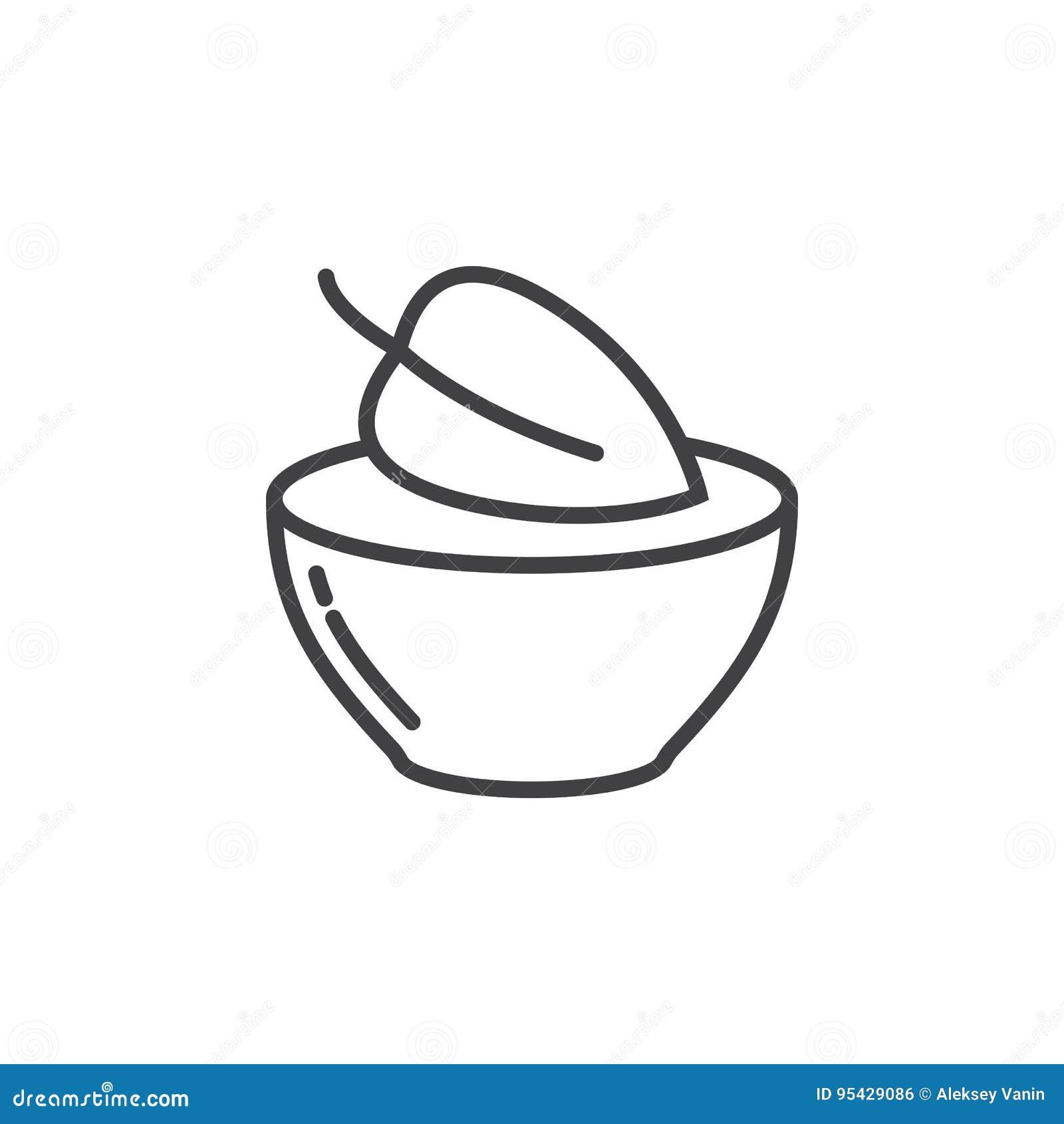 Strikt vegetarianmatsymbol Blad i en maträttlinje symbol, översiktsvektortecken, linjär pictogram som isoleras på vit