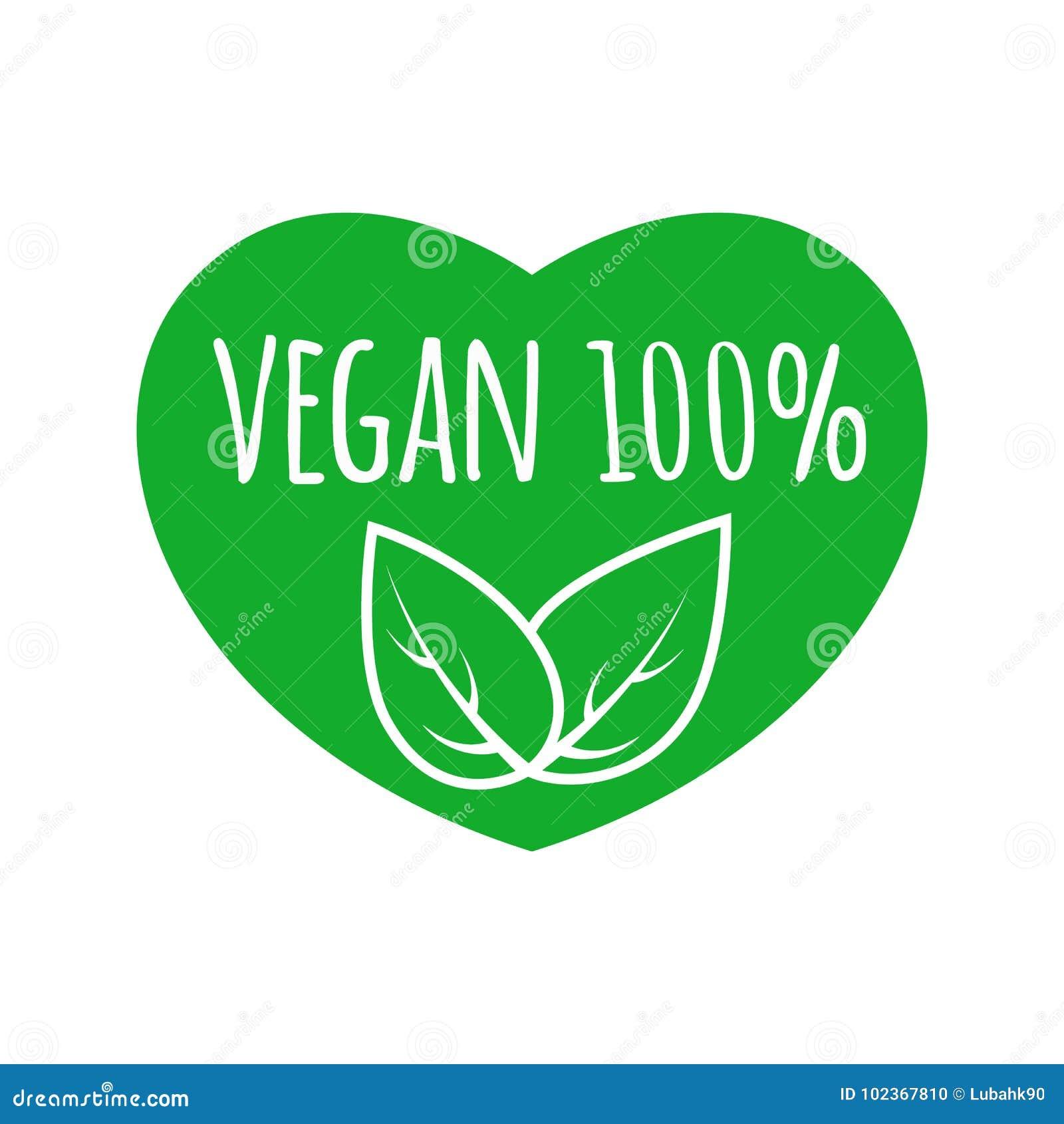 Strikt vegetarianmattecken med sidor i hjärtaformdesign strikt vegetarianvektorlogo 100  grön logo för eco Rått sunt matemblem