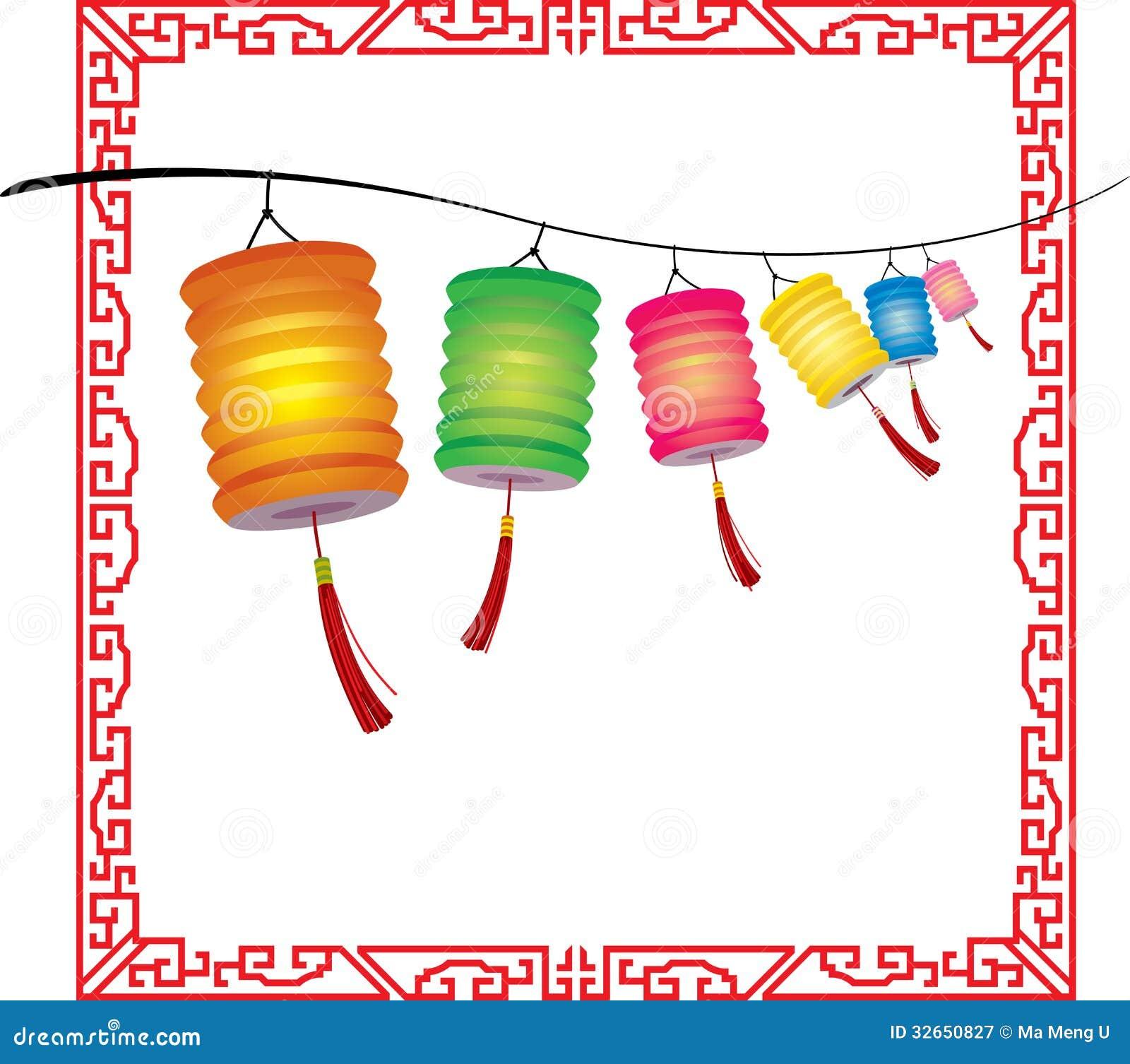 String Of Bright Hanging Chinese Lanterns Decorati Royalty Free Stock ...