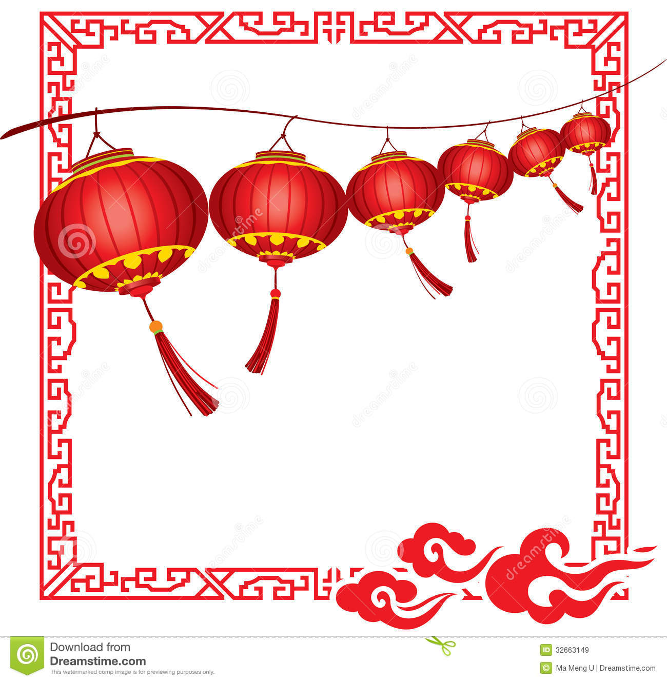 String Of Bright Hanging Red Chinese Lanterns Deco Royalty ...