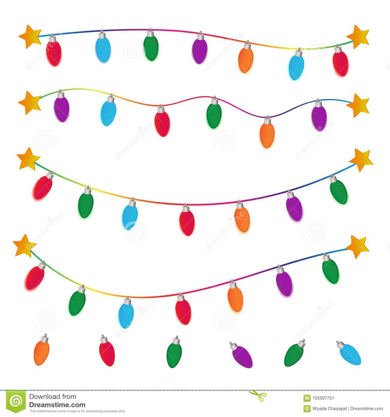 String Of Christmas Lights On White Background Stock