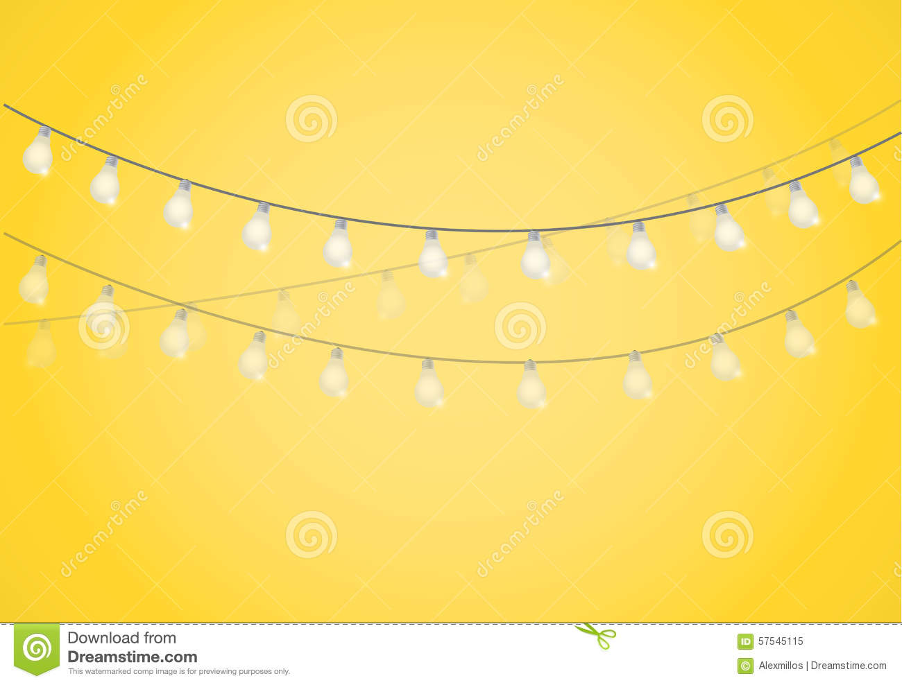String Of White Lights Clipart : String Of Lights. Hanging Light Bulbs Stock Illustration - Image: 57545115