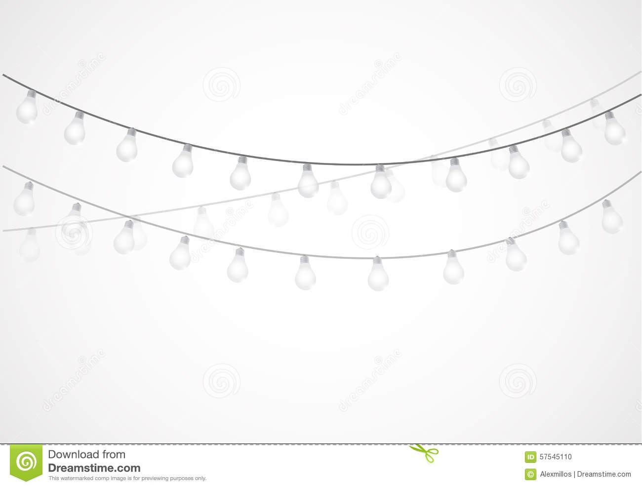 String Of White Lights Clipart : String Of Lights. Hanging Light Bulbs Stock Illustration - Image: 57545110