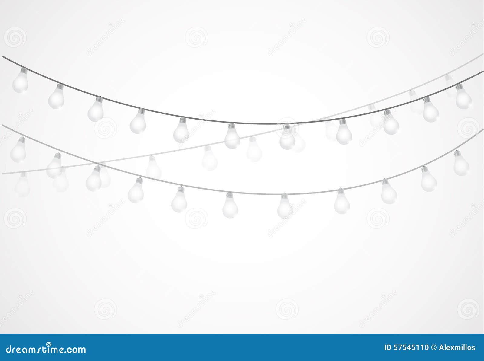 String Of Lights Hanging Light Bulbs Stock Illustration