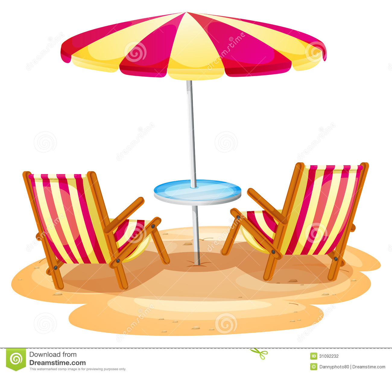 A Stripe Beach Umbrella And The Two Wooden Chairs Stock