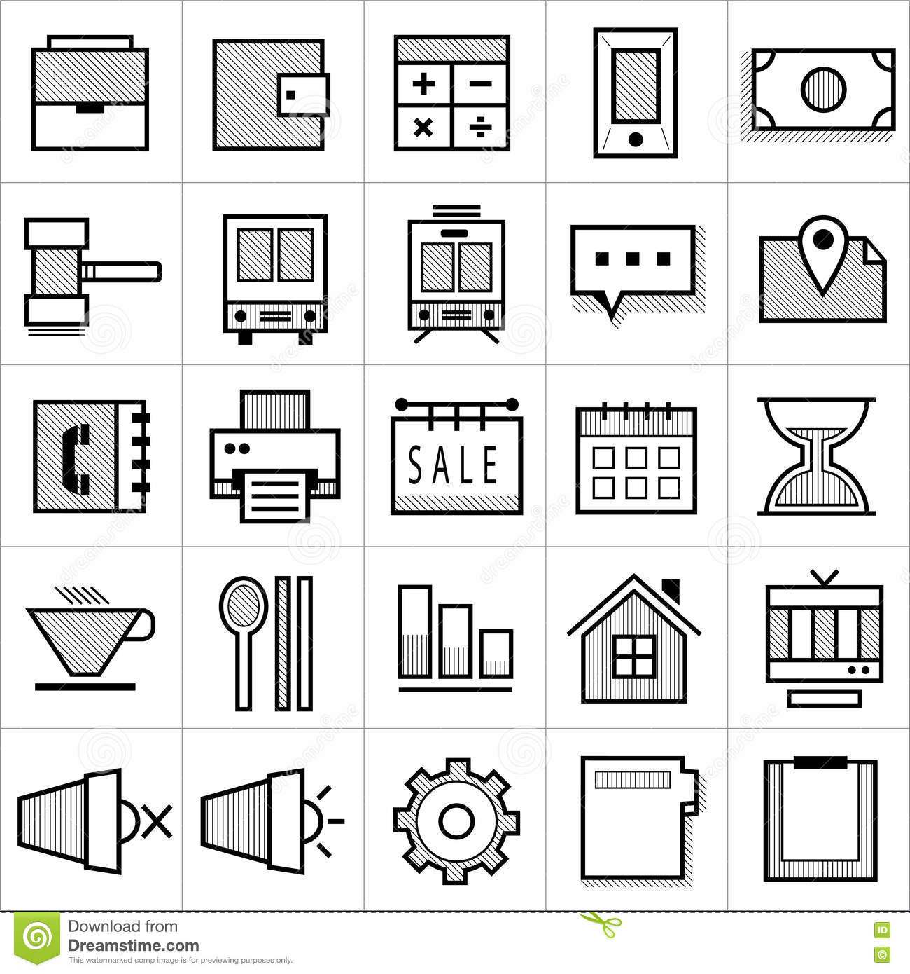 Stripe business icons 001 stock vector  Illustration of calculator