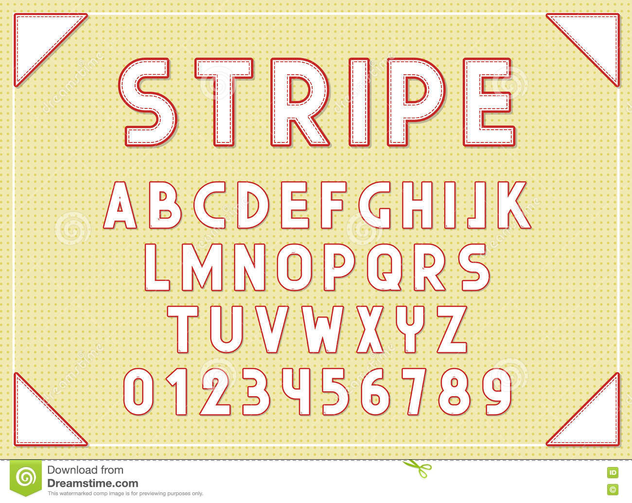 Stripe Fonts Abc Letters Print Typography Vector